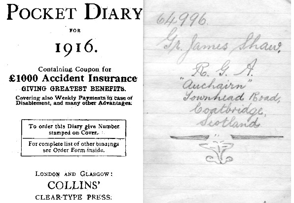 diary title page and owner's details