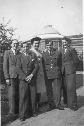 Edouard, Cyrille, Germaine and Henri Strybos-Walgraef with Cpl. Jim Shaw at National Botanic Garden, Brussels 1945